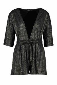 Womens Glitter Print Deep V Front Playsuit - black - 14, Black