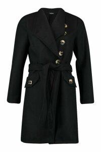 Womens Belted Pocket Detail Wool Look Coat - black - 8, Black