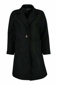 Womens Pocket Detail Wool Look Coat - black - 12, Black