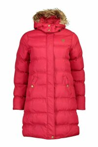 Womens Faux Fur Trim Longline Padded Jacket - red - 14, Red