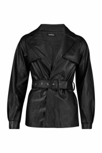 Womens Belted Faux Leather Trench Coat - black - L, Black