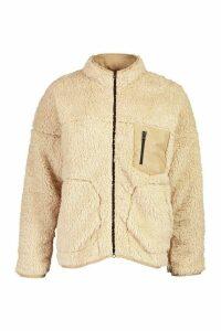 Womens Pocket Detail Teddy Jacket - beige - 10, Beige