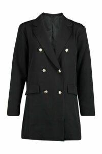 Womens Oversize Double Breasted Blazer - Black - 8, Black
