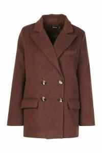Womens Wool Look Blazer - Brown - 10, Brown
