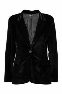 Womens Velvet Tailored Blazer - black - 10, Black