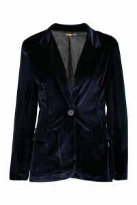 Velvet Tailored Blazer - navy - 12, Navy