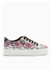 Womens Trickster Multi Colour Snake Design Double Sole Trainers, Pink