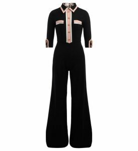 Elisabetta Franchi Suit In Black Crêpe With Pink And White Profiles