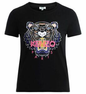T Shirt Kenzo Tigre Realizzata In Cotone Nero Con Logo Multicolor