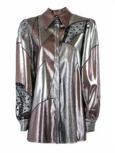 Alberta Ferretti Silver-tone And Pink Silk-blend Metallic Shirt