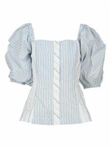 Ganni Shirting Cotton Puff Sleeve Top
