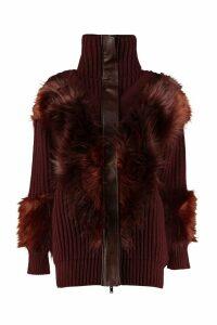 Stella McCartney Faux Fur Detail Cardigan