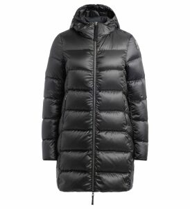 Parajumpers Marion Black Coat In Feather With Hood