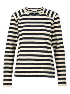 Ganni Striped Cotton Jersey Pullover