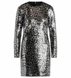 Michael Kors Leopard-effect Dress Made Of Sequins