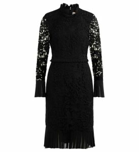 Tory Burch Floral Pencil Dress Made Of Black Lace