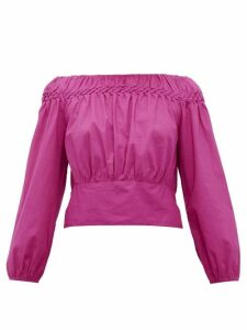 Merlette - Soller Smocked Cotton-lawn Blouse - Womens - Dark Pink