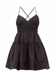 Three Graces London - Mia Ruched Cotton-poplin Mini Dress - Womens - Black