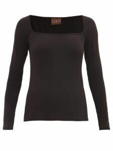Albus Lumen - Longe Square-neck Top - Womens - Black
