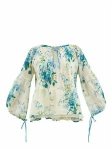 D'Ascoli - Clarita Drawstring Floral-print Cotton Blouse - Womens - Blue Print