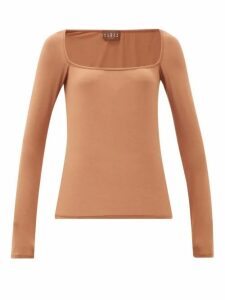 Albus Lumen - Longe Square-neck Top - Womens - Light Brown