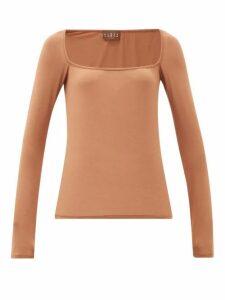 Albus Lumen - Longe Square-neck Top - Womens - Light Brown