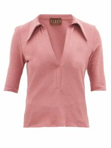 Albus Lumen - Point-collar Cotton-blend Terry Polo Shirt - Womens - Pink