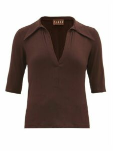 Albus Lumen - Exaggerated Point Collar Top - Womens - Brown
