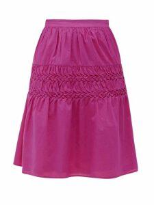 Merlette - Castell Smocked Cotton-lawn Skirt - Womens - Dark Pink