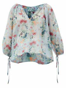 Loup Charmant - Capucine Floral-print Cotton-blend Peasant Blouse - Womens - Blue Multi