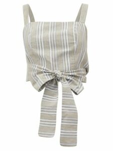 Loup Charmant - Pilos Cropped Striped Cotton-blend Top - Womens - Beige Stripe