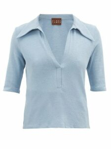 Albus Lumen - Point-collar Terry Cotton-blend Polo Shirt - Womens - Blue