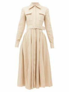 Emilia Wickstead - Aurora Belted Cotton-blend Midi Dress - Womens - Beige