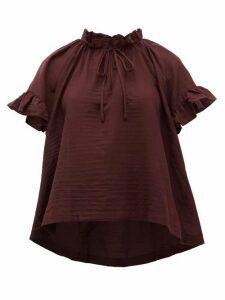 Loup Charmant - Marina Ruffle-trimmed Organic-cotton Top - Womens - Dark Purple