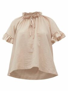 Loup Charmant - Marina Ruffle-trimmed Organic-cotton Top - Womens - Light Pink