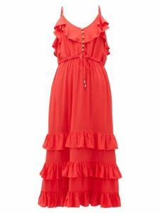 Melissa Odabash - Bethan Tiered-ruffled Midi Dress - Womens - Red