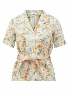 Ephemera - Belted Floral-print Linen Safari Shirt - Womens - Yellow Multi