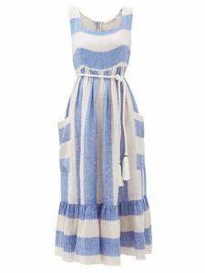 Love Binetti - Sunny Striped Linen Midi Dress - Womens - Blue Stripe