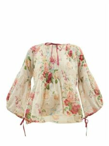 D'ascoli - Clarita Drawstring Floral-print Cotton Blouse - Womens - Multi