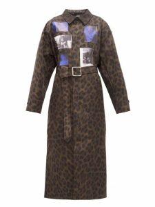 Raf Simons - Animalier Leopard-print Belted Technical Coat - Womens - Leopard