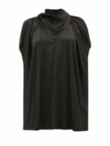 Ssone - Apex Bandana-neck Satin Blouse - Womens - Black