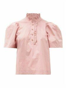 Sea - Clara Puff-sleeve Cotton-blend Blouse - Womens - Light Pink