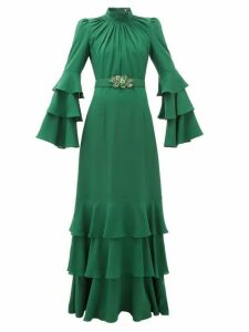 Andrew Gn - Gathered-neck Belted Silk-crepe Gown - Womens - Dark Green