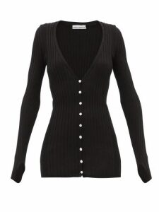 Paco Rabanne - Ribbed Cotton-blend Cardigan - Womens - Black
