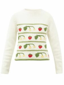 Shrimps - Cherise Fruit-intarsia Alpaca-blend Sweater - Womens - Cream Multi