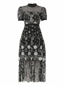 Self-portrait - Floral-sequinned Tulle Midi Dress - Womens - Black