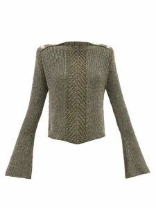 Balmain - Fluted-sleeve Metallic Sweater - Womens - Khaki