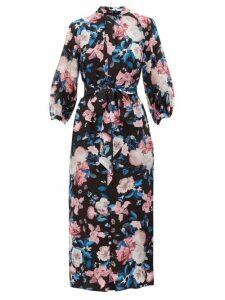 Erdem - Finnetta Dusk Bouquet-print Silk-crepe Dress - Womens - Black Pink