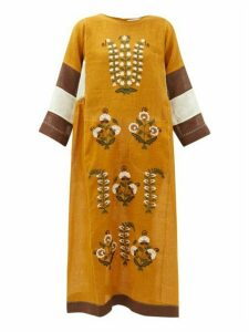 Vita Kin - Patchouli Embroidered-linen Dress - Womens - Dark Yellow