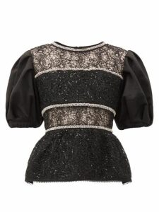 Self-portrait - Puffed-sleeve Crystal-embellished Lace Top - Womens - Black